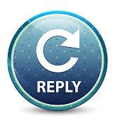 Reply (rotate arrow icon) shiny sky blue round button