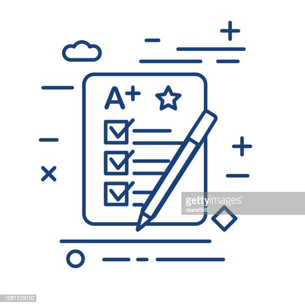 report card thin line education icon - report card stock illustrations