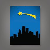 report comet and stars fo the city, vector illustration