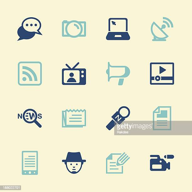 reporter icons - color series - tv reporter stock illustrations, clip art, cartoons, & icons
