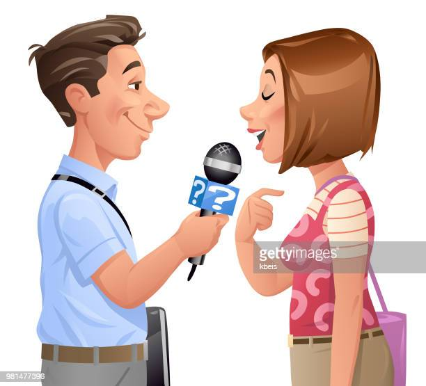 reporter interviewing young woman - journalism stock illustrations