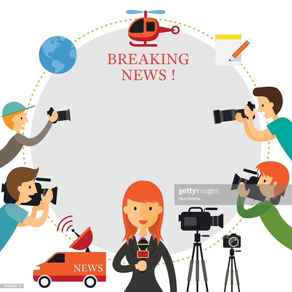 Reporter, Photographer, Cameraman, News Report Frame