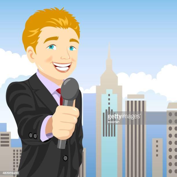 reporter - tv reporter stock illustrations, clip art, cartoons, & icons