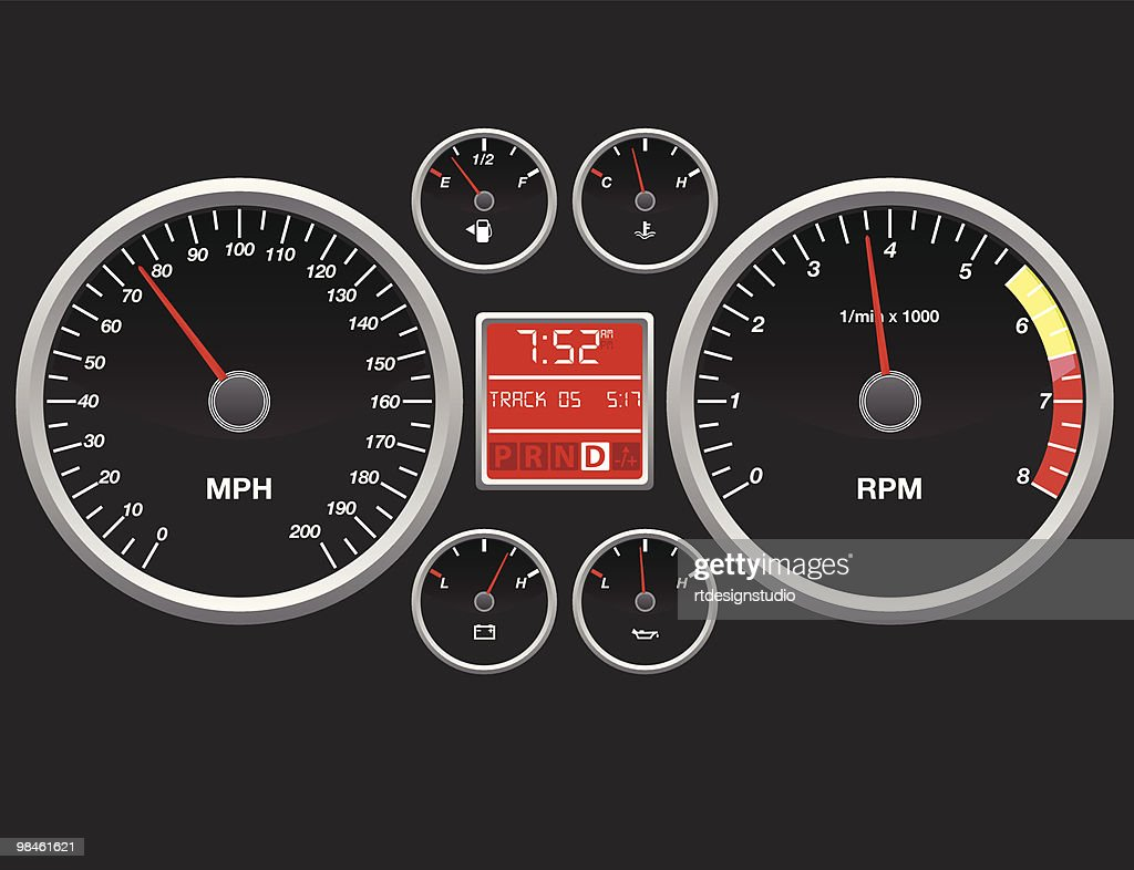 A representation of a cars dashboard with speedometer