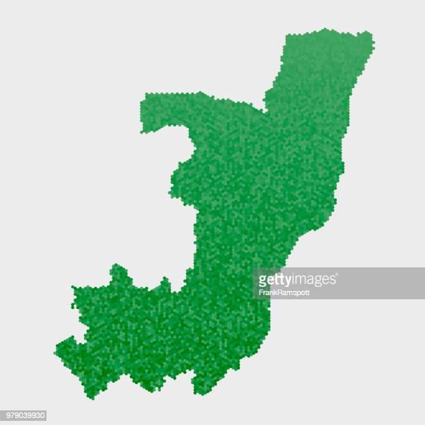 Republik Kongo Land Map grünen Sechseck-Muster