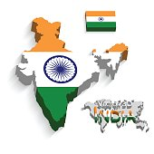 Republic of India 3D ( flag and map ) ( transportation and tourism concept )