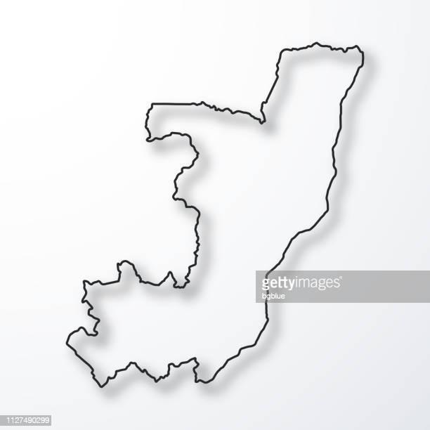 République de la carte du Congo - contour noir avec ombre, fond blanc