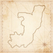 Republic of the Congo map in retro vintage style - old textured paper