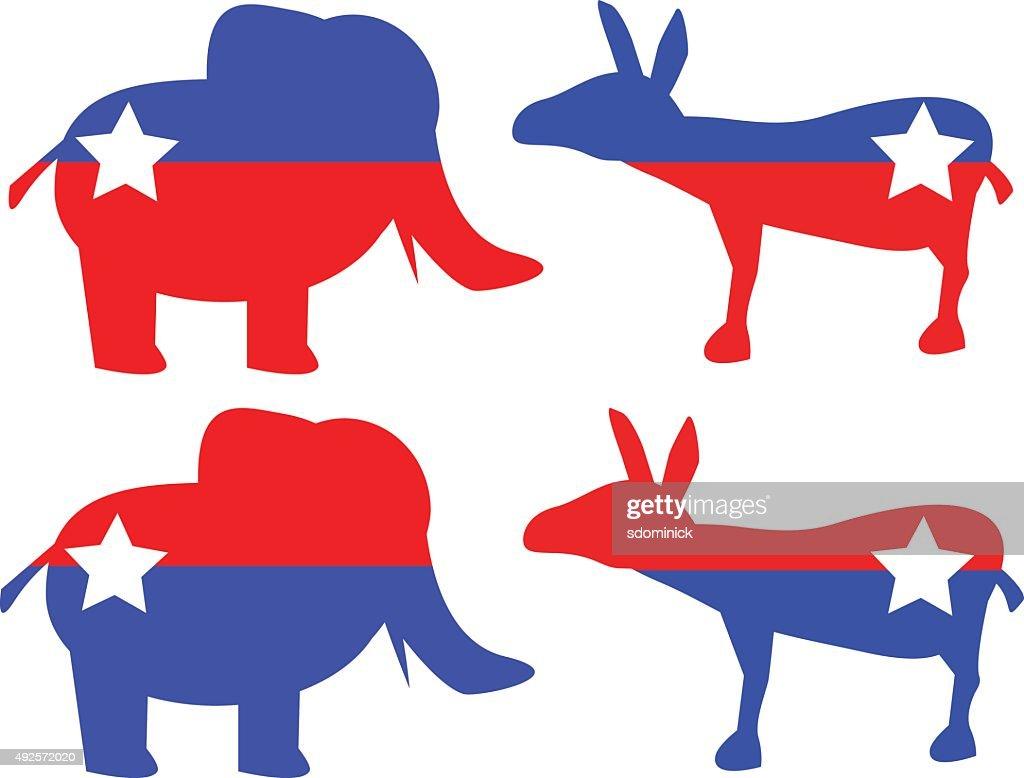 Republican Elephant And Democratic Donkey Shapes
