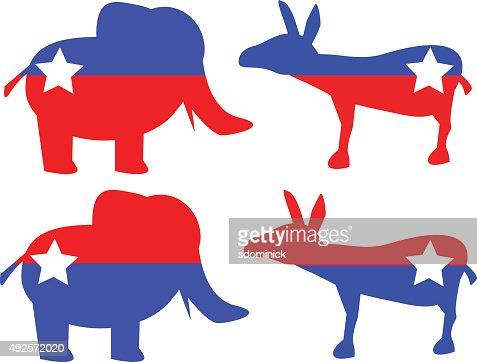 republican elephant and democratic donkey shapes vector art