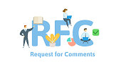 RFC, Request for Comments. Concept with keywords, letters and icons. Flat vector illustration. Isolated on white background.