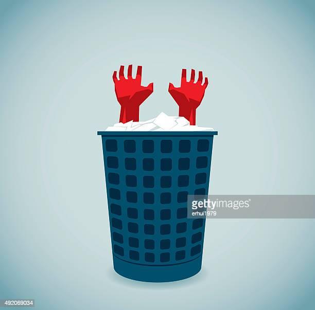 rescue - wastepaper basket stock illustrations, clip art, cartoons, & icons