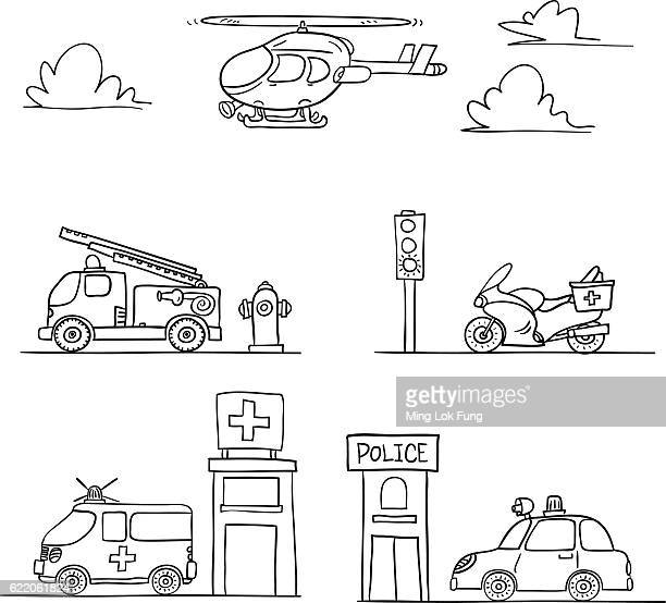ilustrações de stock, clip art, desenhos animados e ícones de rescue vehicles in black and white - carro de bombeiro