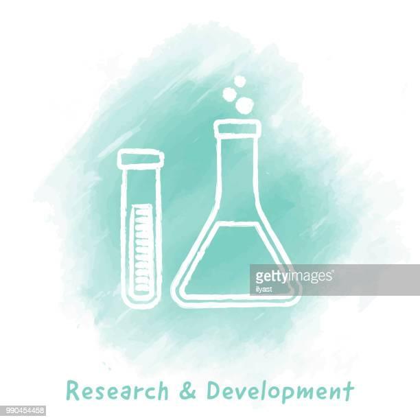 Research & Development Doodle Watercolor Background