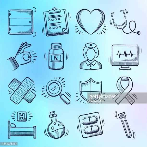 research, education & care doodle style vector icon set - patience stock illustrations