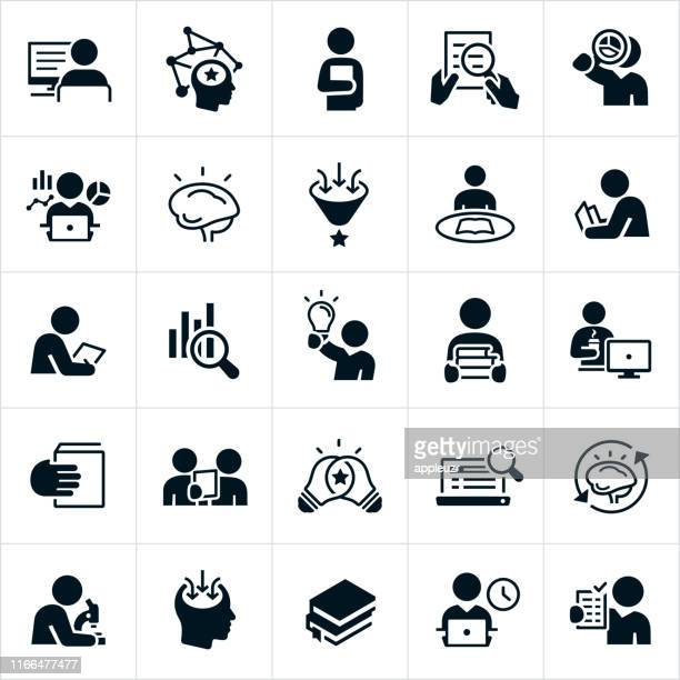 research icons - studying stock illustrations