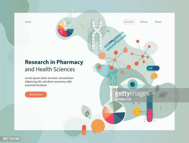 research in pharmacy and health sciences - molecular structure stock illustrations