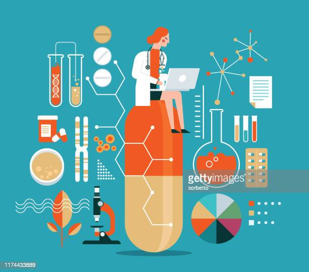 research in pharmacy - scientist stock illustrations