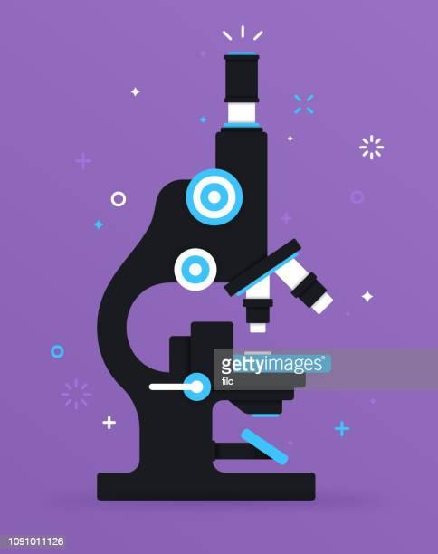 illustrazioni stock, clip art, cartoni animati e icone di tendenza di microscopio da ricerca - microscopio