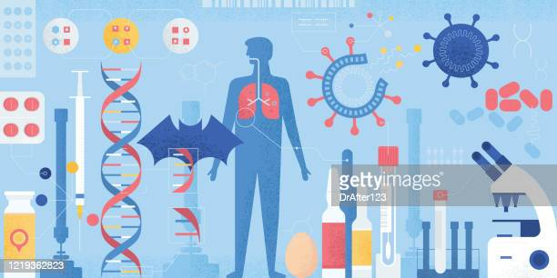 research on coronavirus disease - genetic mutation stock illustrations
