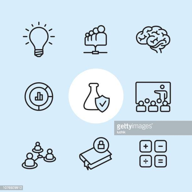 Research - outline icon set
