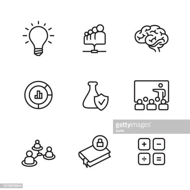 research - pixel perfect outline icons - laboratory flask stock illustrations
