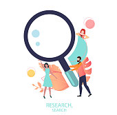 Research, search sign or icon with magnifier and people, flat style.