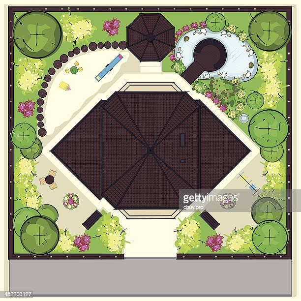resedental house top plan with a beautiful garden - vegetable garden stock illustrations, clip art, cartoons, & icons