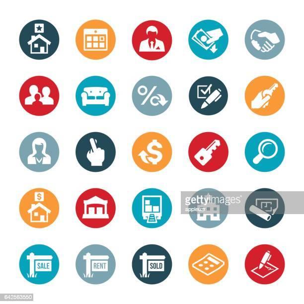 wohn- und unternehmensgebäude immobilien-icons - gewerbeimmobilie stock-grafiken, -clipart, -cartoons und -symbole