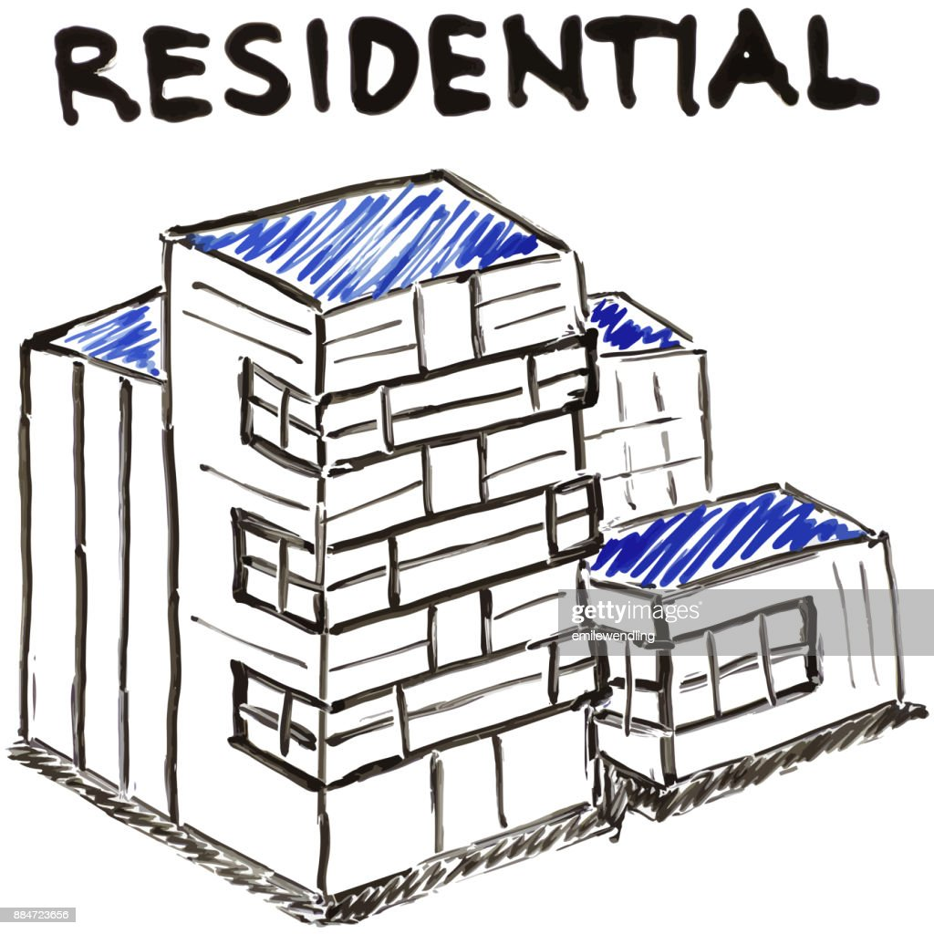 Residential Apartment Text White Board Illustration