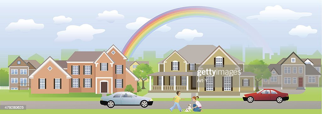 Residential Area Neighbour with Children Playing, Cars and Rainbow : stock illustration