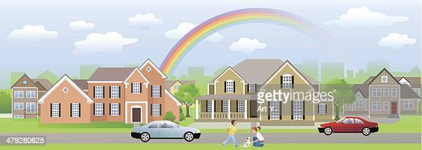 Residential Area Neighbour with Children Playing, Cars and Rainbow
