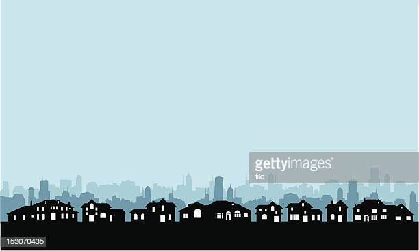 residential area skyline - skyline stock illustrations