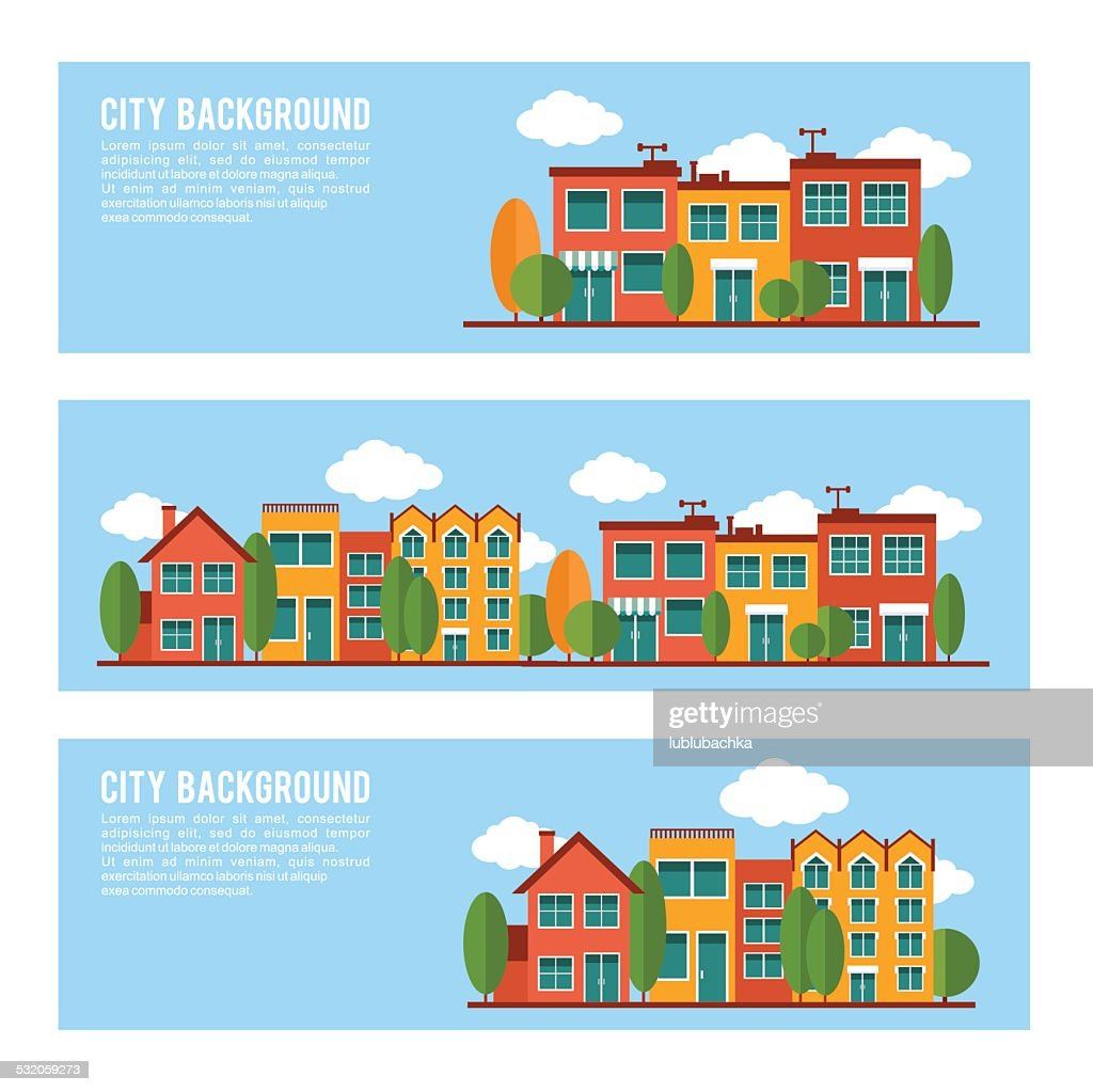 Residential city houses backgrounds banner set