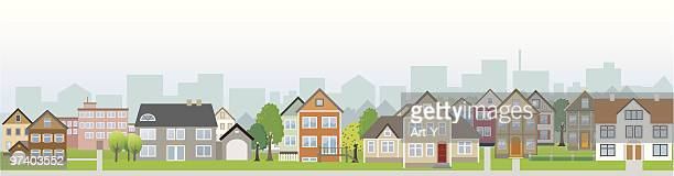 residential district neighbour with houses on street - town stock illustrations