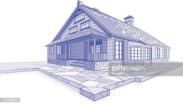 residential house sketch chalet - house exterior stock illustrations, clip art, cartoons, & icons