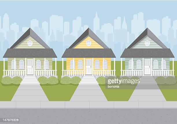 residential neigborhood - bungalow stock illustrations, clip art, cartoons, & icons