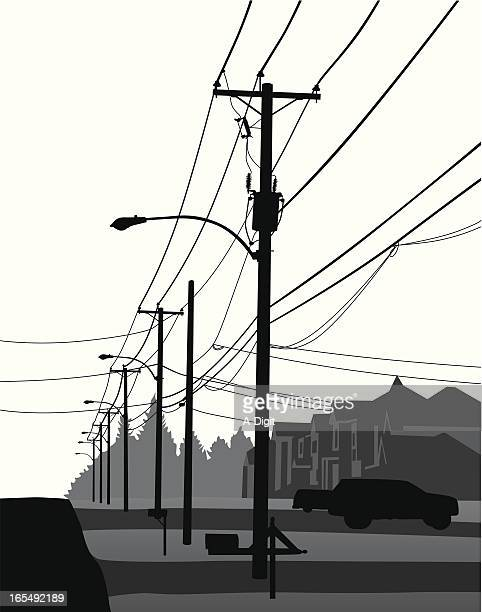 residential vector silhouette - telephone line stock illustrations, clip art, cartoons, & icons