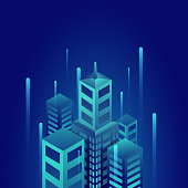 3D residentials buildings on blue background. Isometric concept.