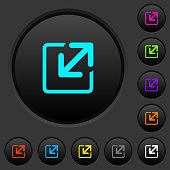 Resize window dark push buttons with color icons