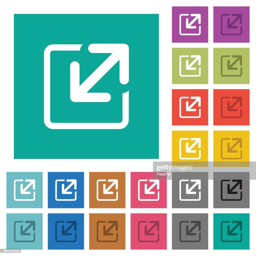Resize window square flat multi colored icons