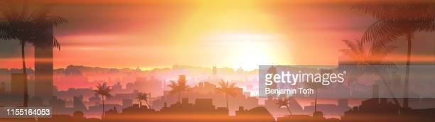 ilustrações de stock, clip art, desenhos animados e ícones de resort city skyline in tropical country landscape with palm tree at sunset panorama - panorâmica