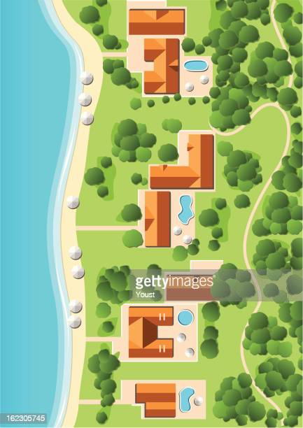 resort with coastline - country geographic area stock illustrations, clip art, cartoons, & icons
