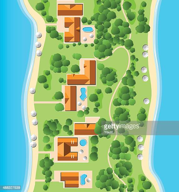 resort with coastline - looking down stock illustrations, clip art, cartoons, & icons
