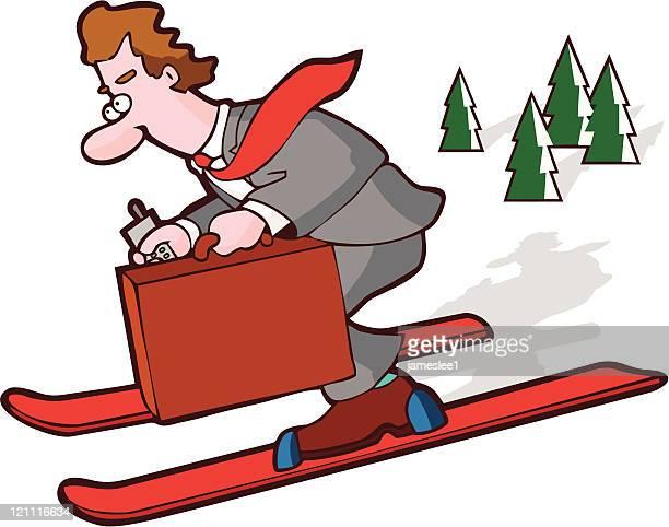 illustrations, cliparts, dessins animés et icônes de homme d'affaires plein de ressources - ski humour