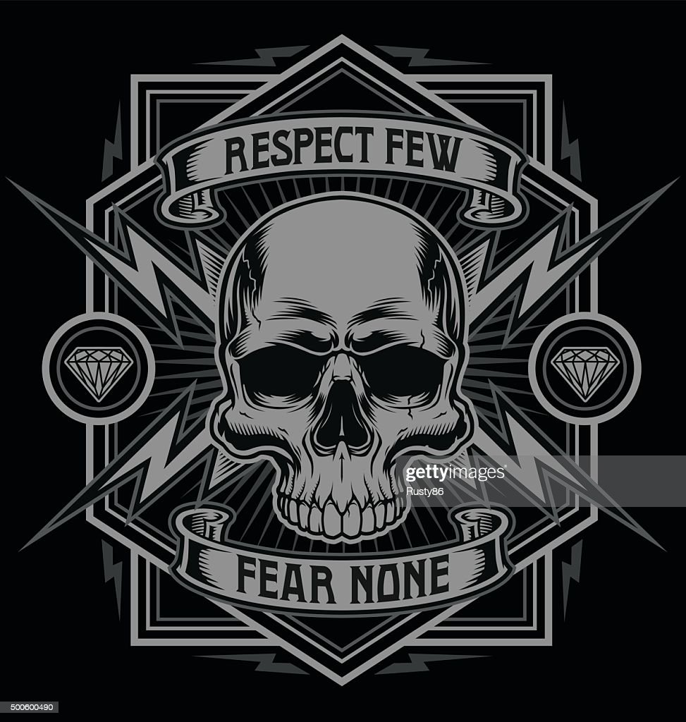 Respect skull with lightning graphic