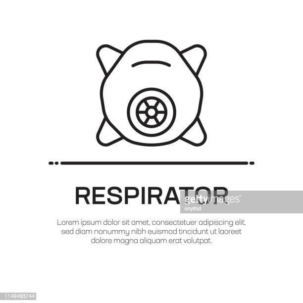 ilustraciones, imágenes clip art, dibujos animados e iconos de stock de icono de línea vectorial respirador-icono de línea delgada simple, elemento de diseño de calidad premium - stealth