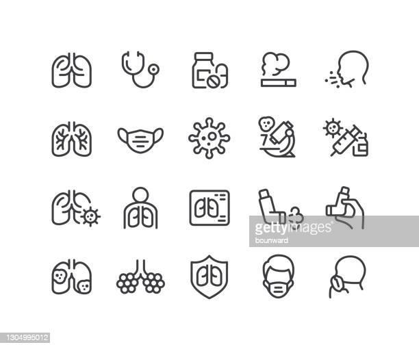 respiratory lung disease line icons editable stroke - respiratory disease stock illustrations