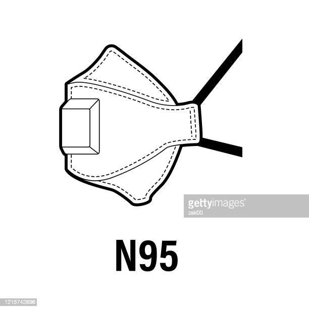 ilustraciones, imágenes clip art, dibujos animados e iconos de stock de máscara protectora respiratoria - n95 - barbijo