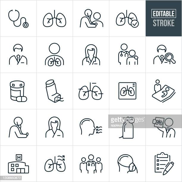 respiratory therapy thin line icons - editable stroke - lung stock illustrations
